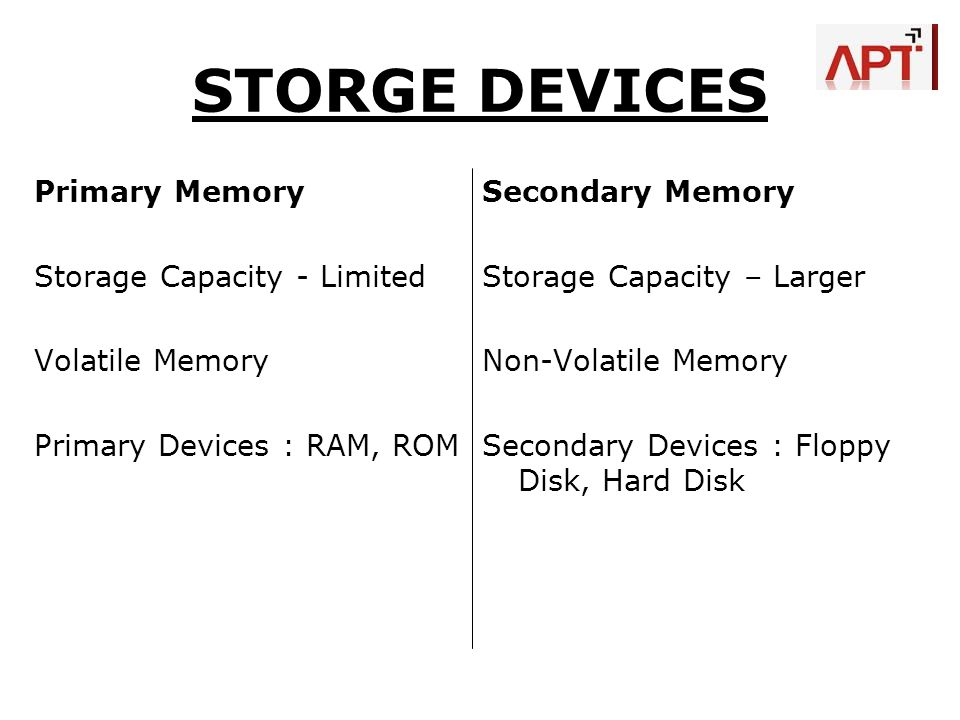 STORGE DEVICES Primary Memory Storage Capacity - Limited