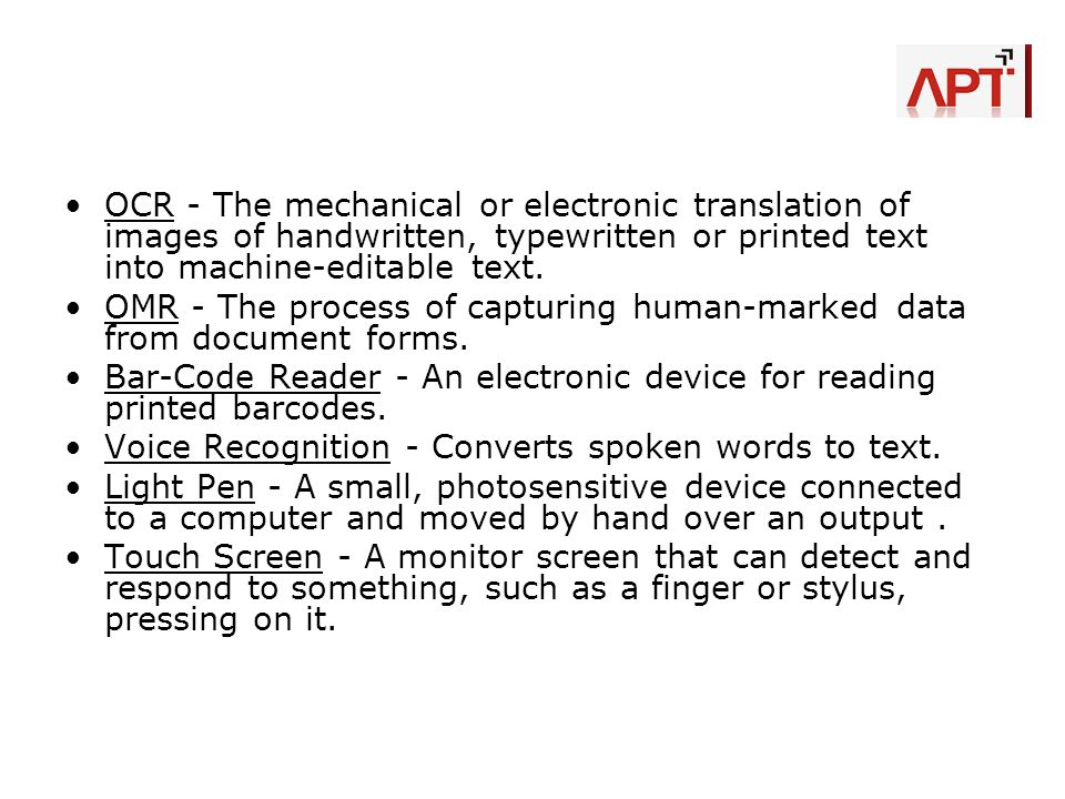 OCR - The mechanical or electronic translation of images of handwritten, typewritten or printed text into machine-editable text.