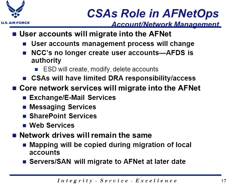 CSAs Role in AFNetOps Account/Network Management