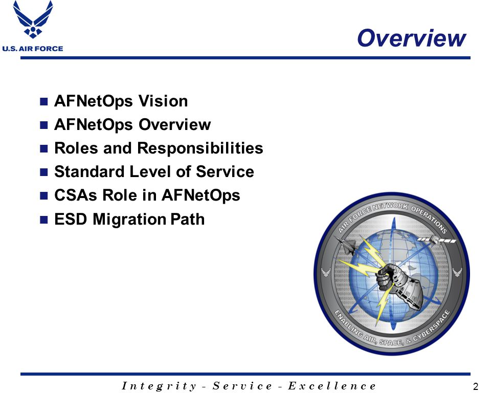 Overview AFNetOps Vision AFNetOps Overview Roles and Responsibilities