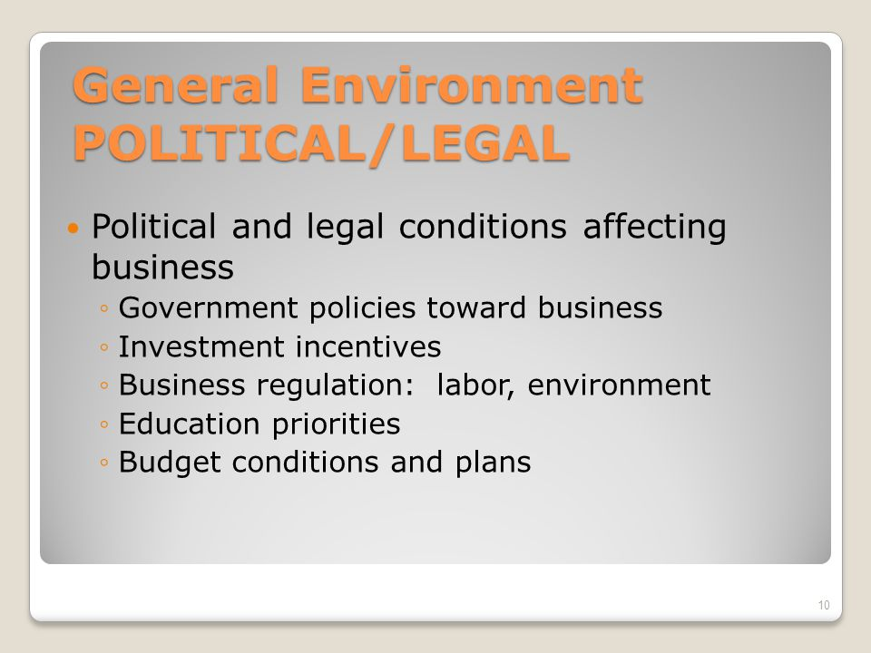 General Environment POLITICAL/LEGAL