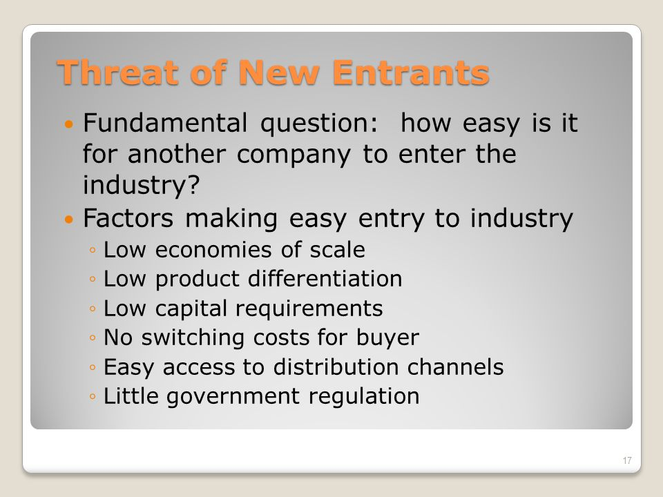 Threat of New Entrants Fundamental question: how easy is it for another company to enter the industry