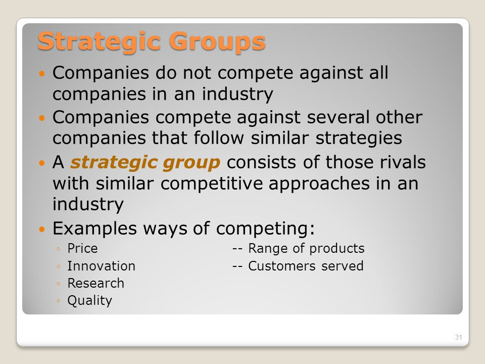 Strategic Groups Companies do not compete against all companies in an industry.