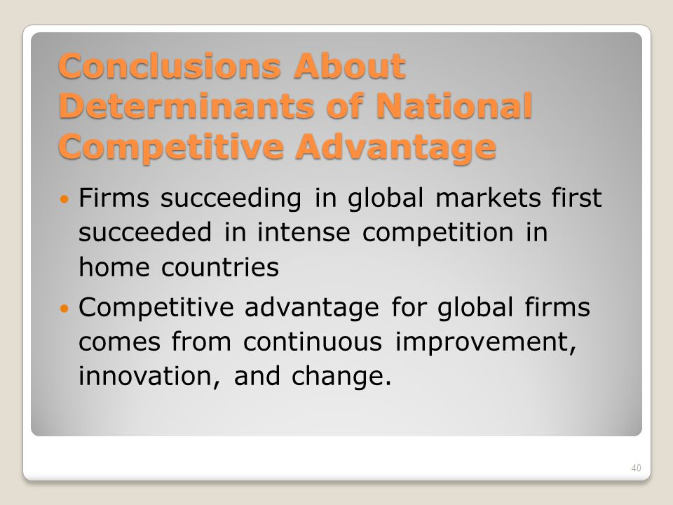 Conclusions About Determinants of National Competitive Advantage