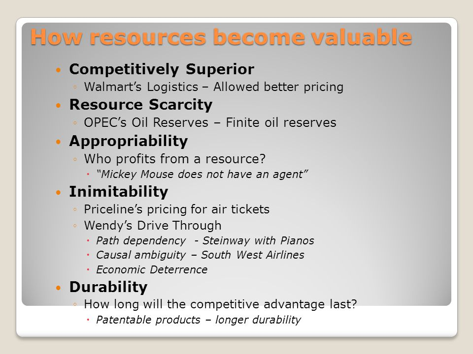How resources become valuable