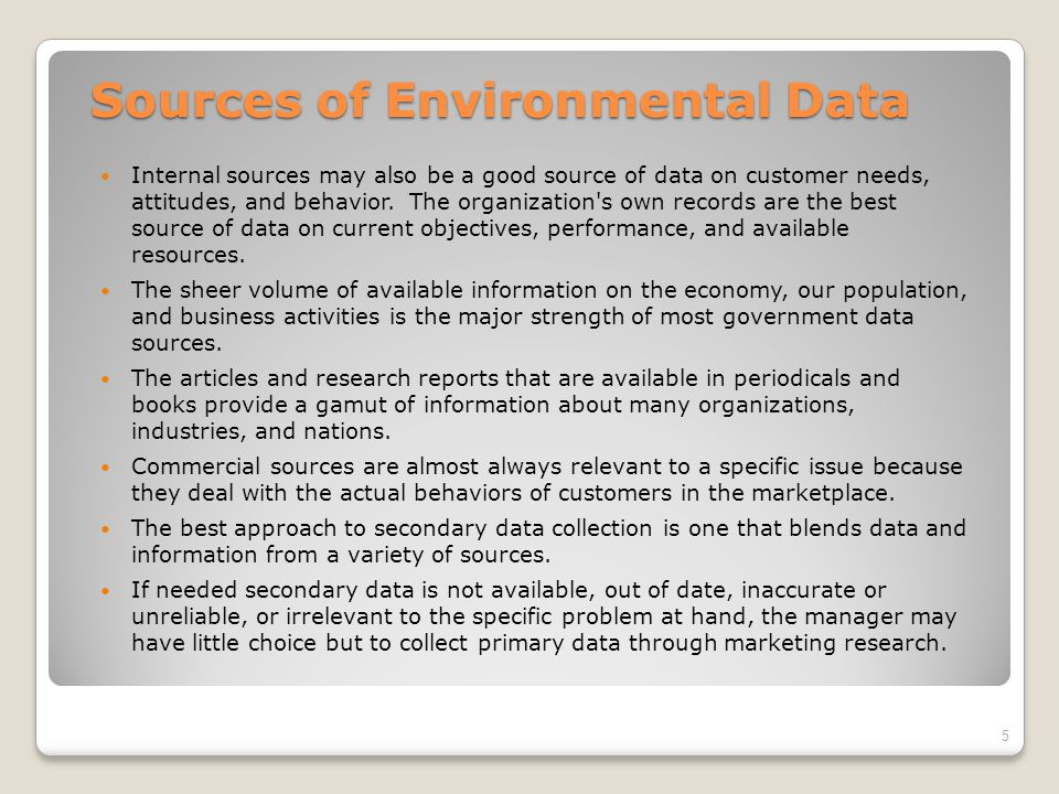 Sources of Environmental Data