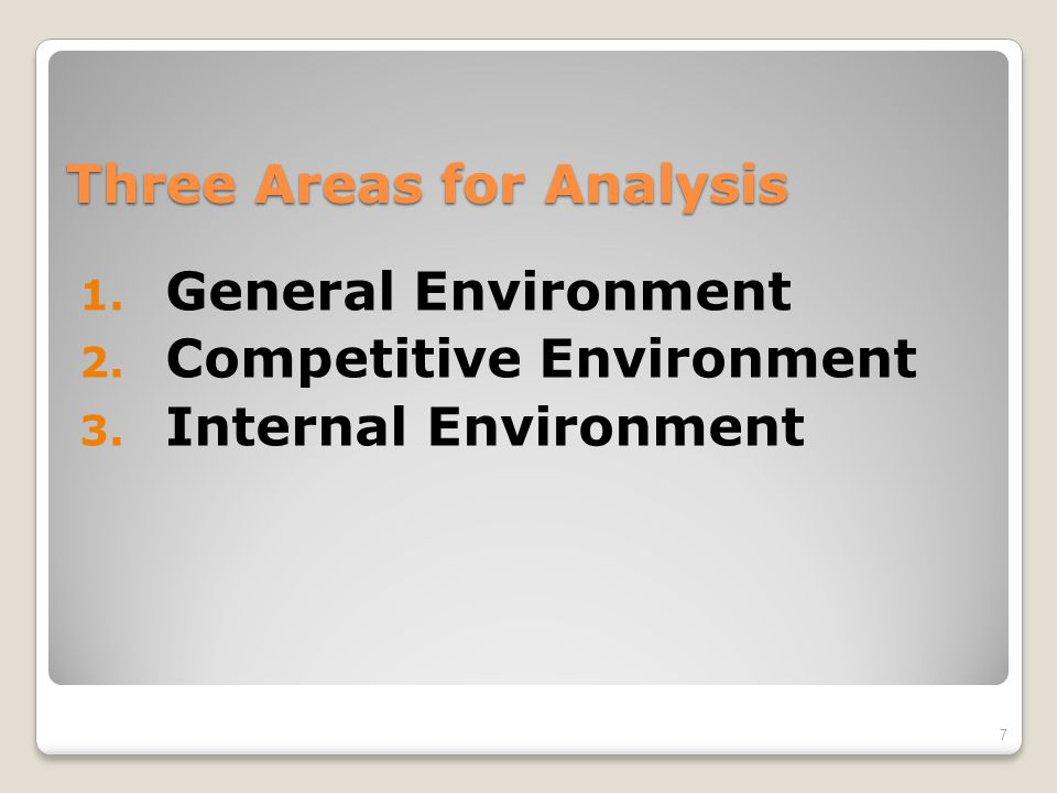 Three Areas for Analysis
