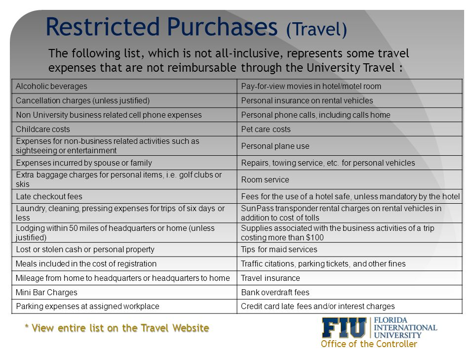 Restricted Purchases (Travel)