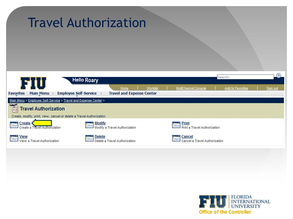 Travel Authorization Office of the Controller