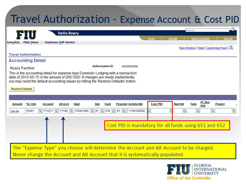 Travel Authorization - Expense Account & Cost PID