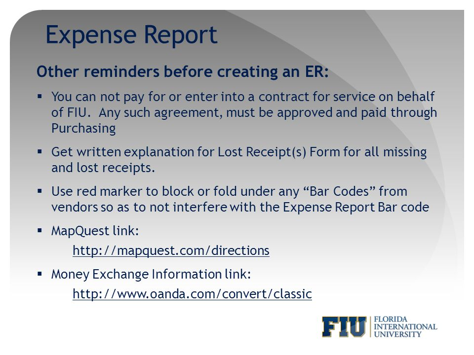 Expense Report Other reminders before creating an ER: