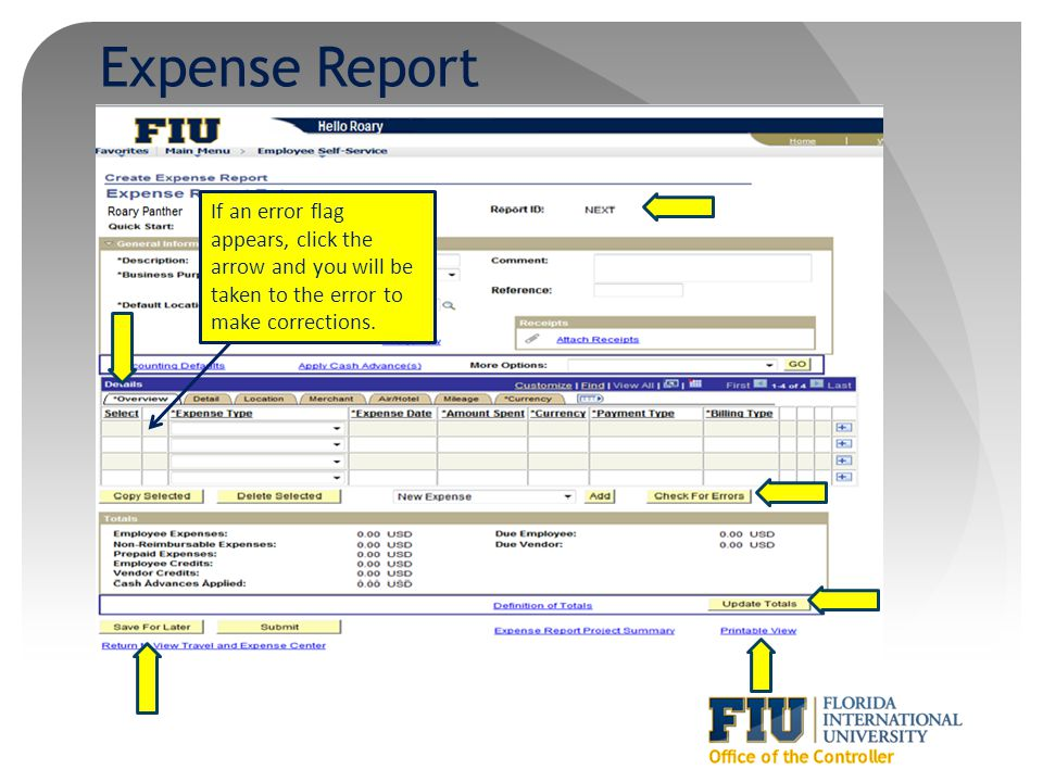 Expense Report If an error flag appears, click the arrow and you will be taken to the error to make corrections.
