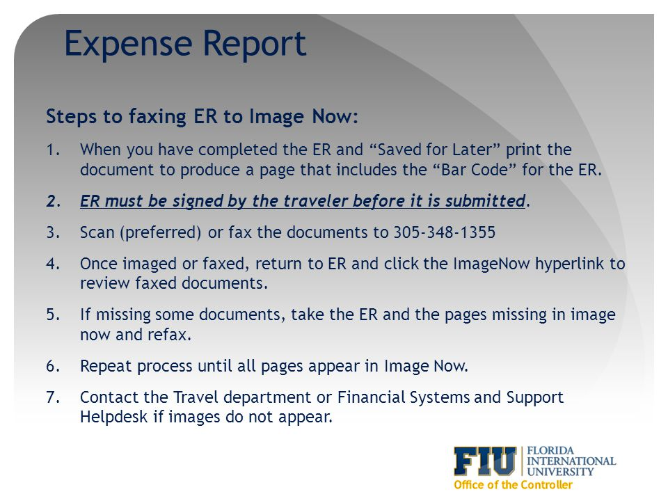 Expense Report Steps to faxing ER to Image Now: