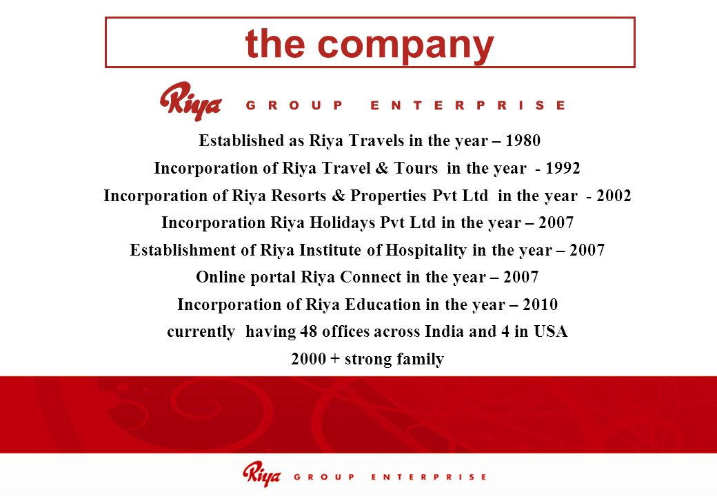 the company Established as Riya Travels in the year – 1980