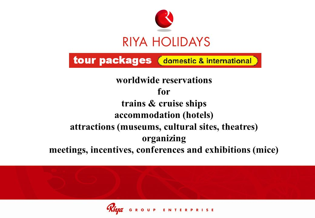 worldwide reservations for trains & cruise ships