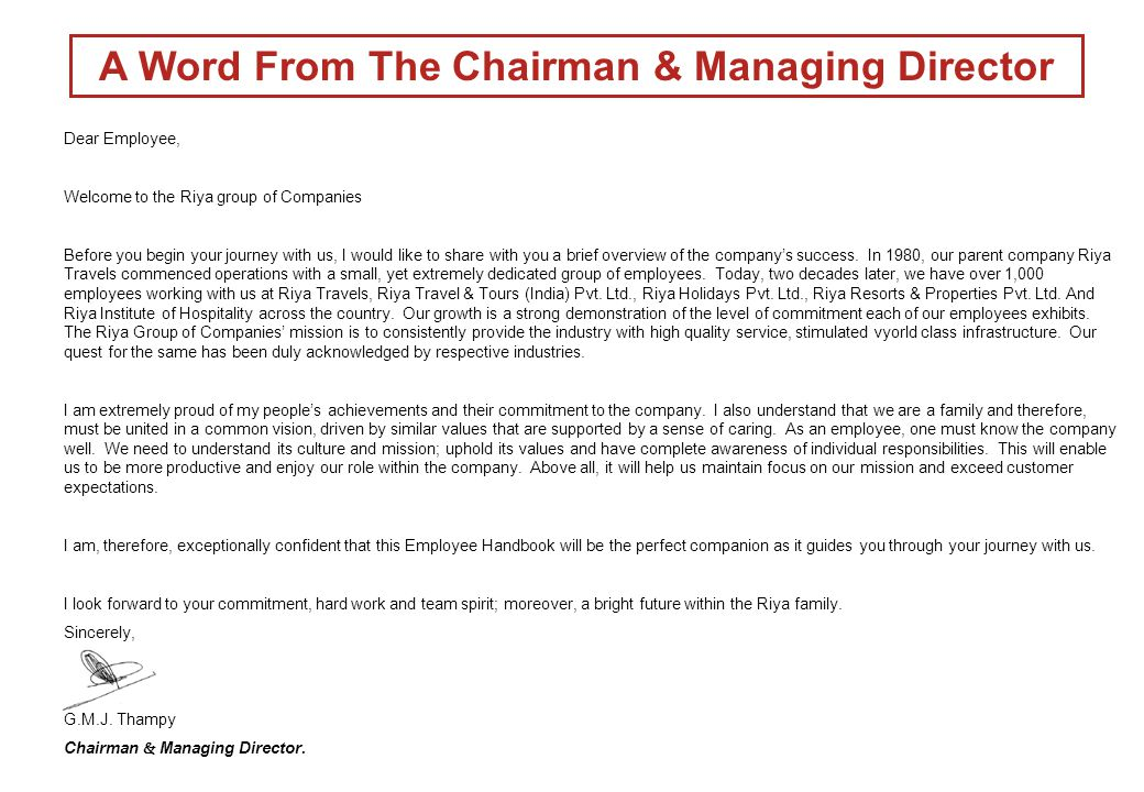 A Word From The Chairman & Managing Director
