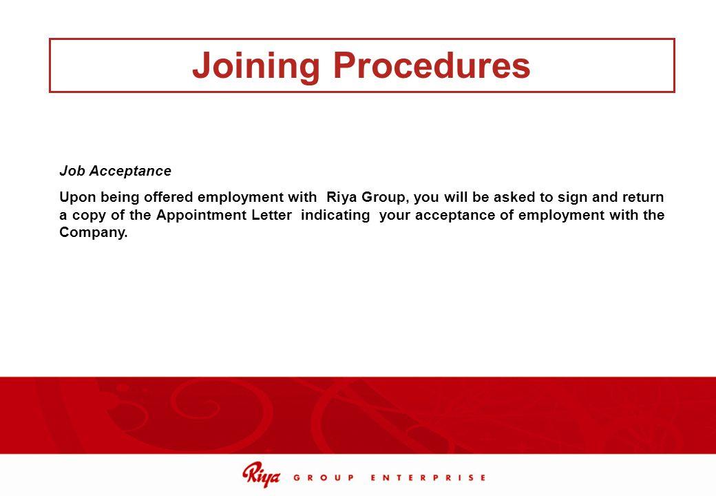 Joining Procedures Job Acceptance