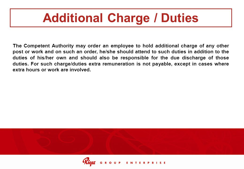 Additional Charge / Duties