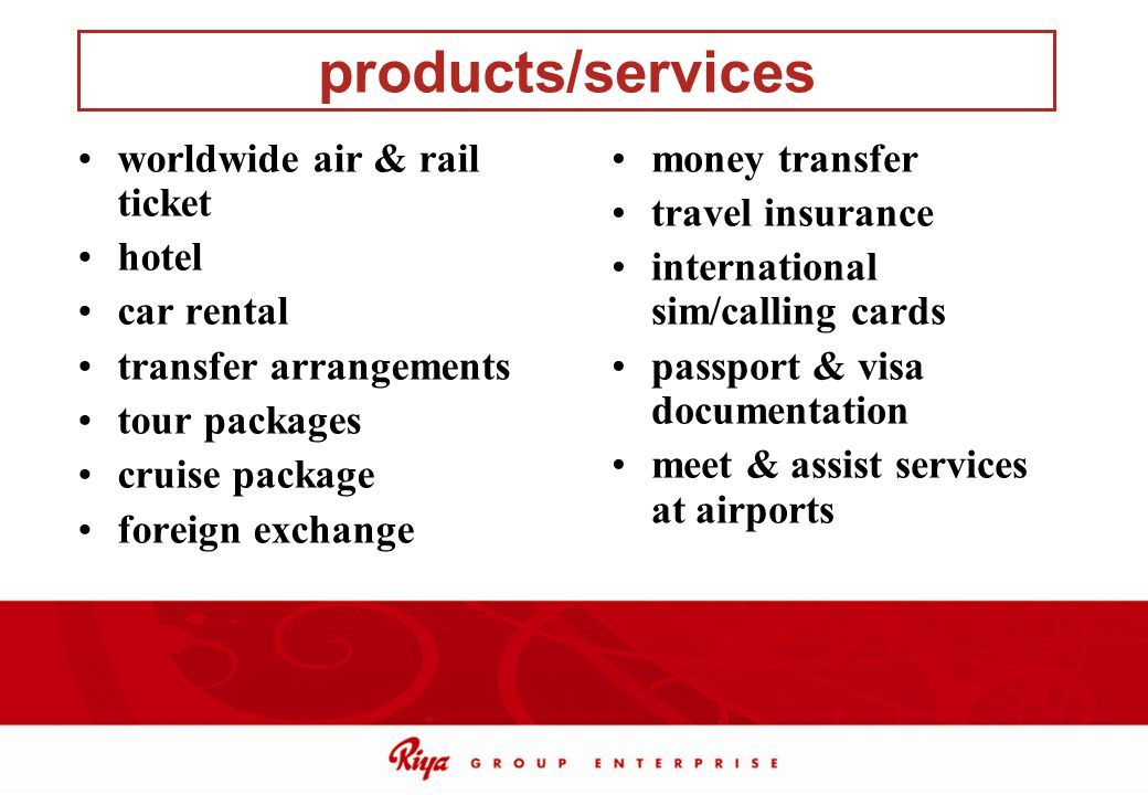 products/services worldwide air & rail ticket hotel car rental