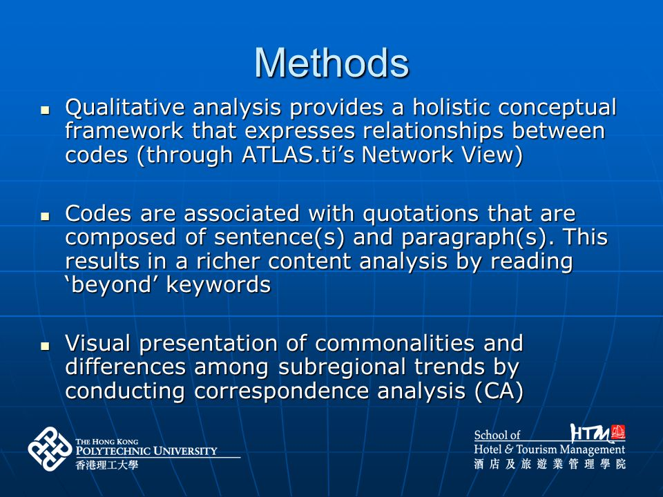 Methods Qualitative analysis provides a holistic conceptual framework that expresses relationships between codes (through ATLAS.ti's Network View)