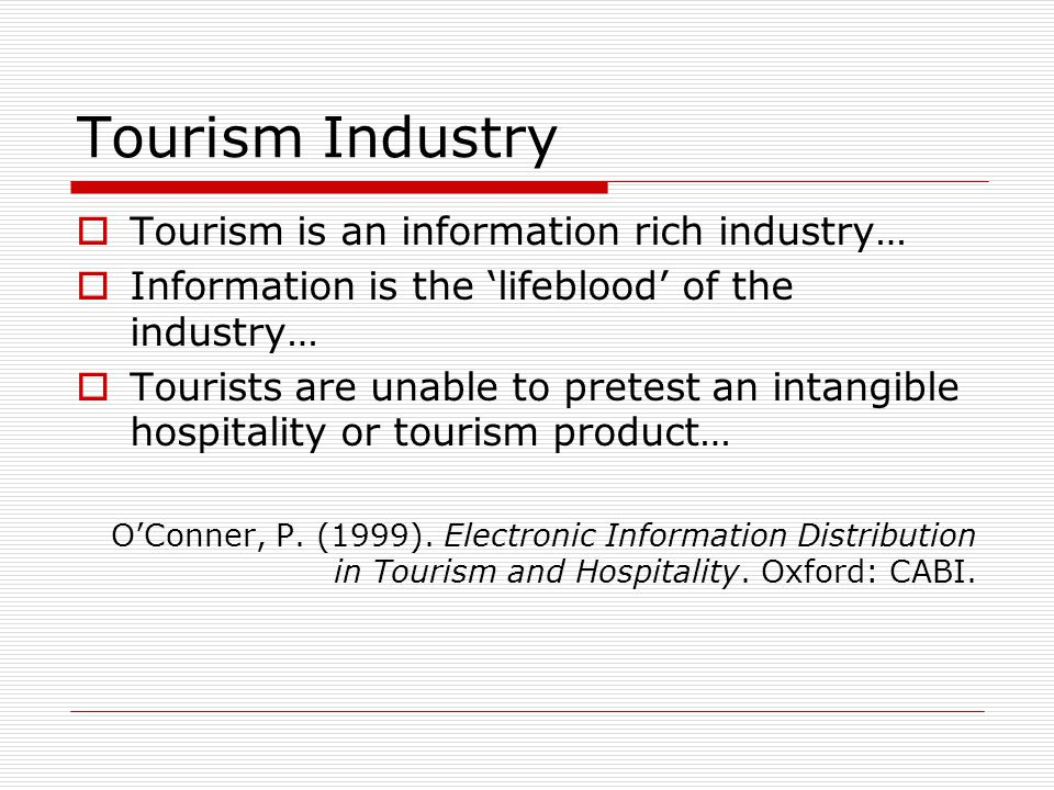 Tourism Industry Tourism is an information rich industry…