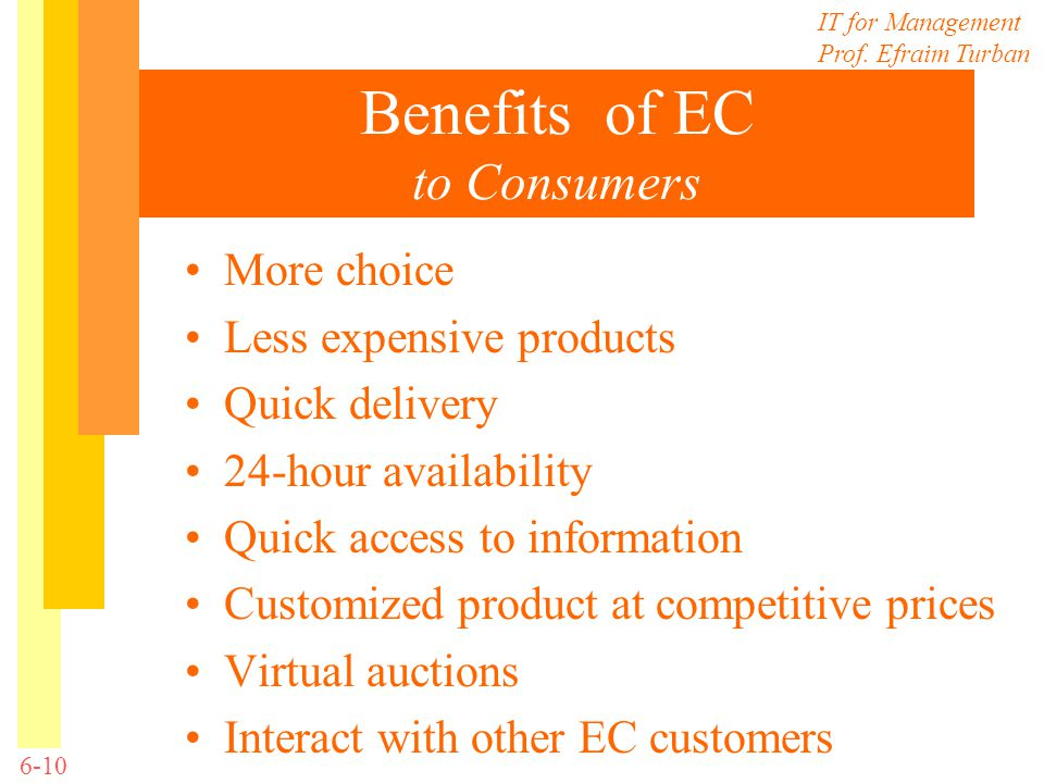 Benefits of EC to Consumers
