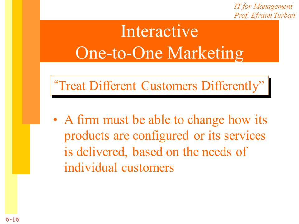Interactive One-to-One Marketing