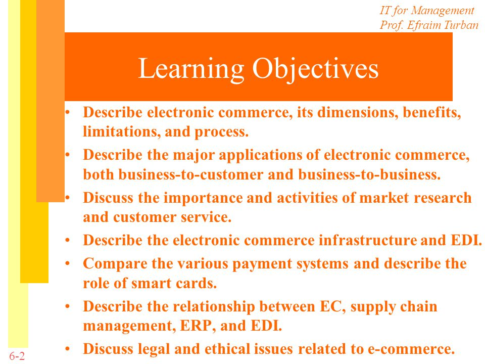Learning Objectives Describe electronic commerce, its dimensions, benefits, limitations, and process.