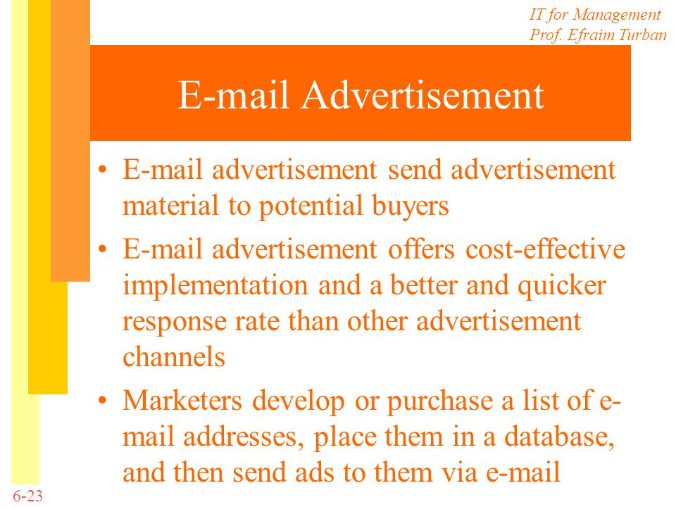 E-mail Advertisement E-mail advertisement send advertisement material to potential buyers.