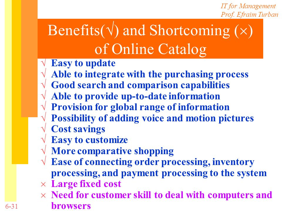 Benefits() and Shortcoming () of Online Catalog