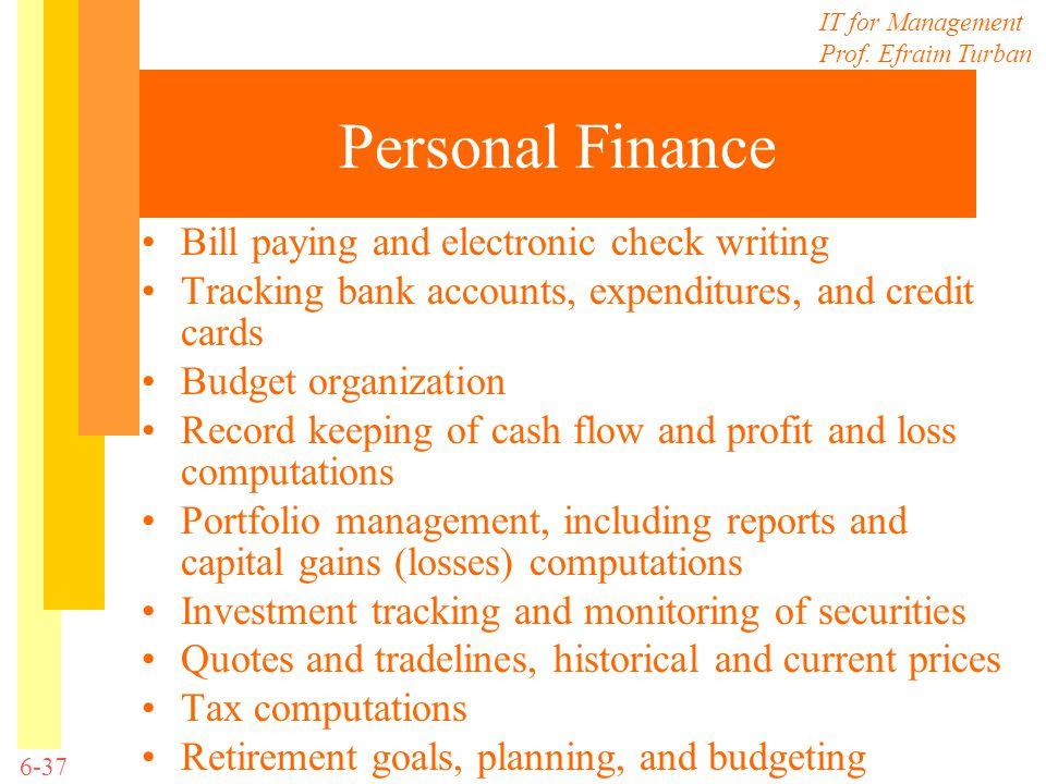 Personal Finance Bill paying and electronic check writing