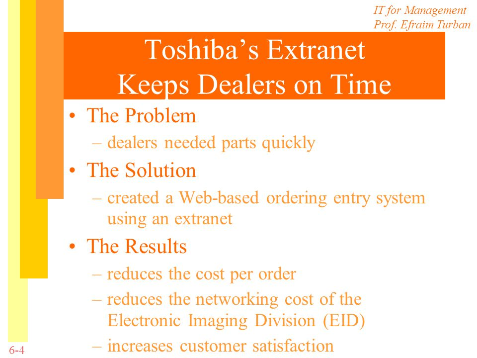 Toshiba's Extranet Keeps Dealers on Time