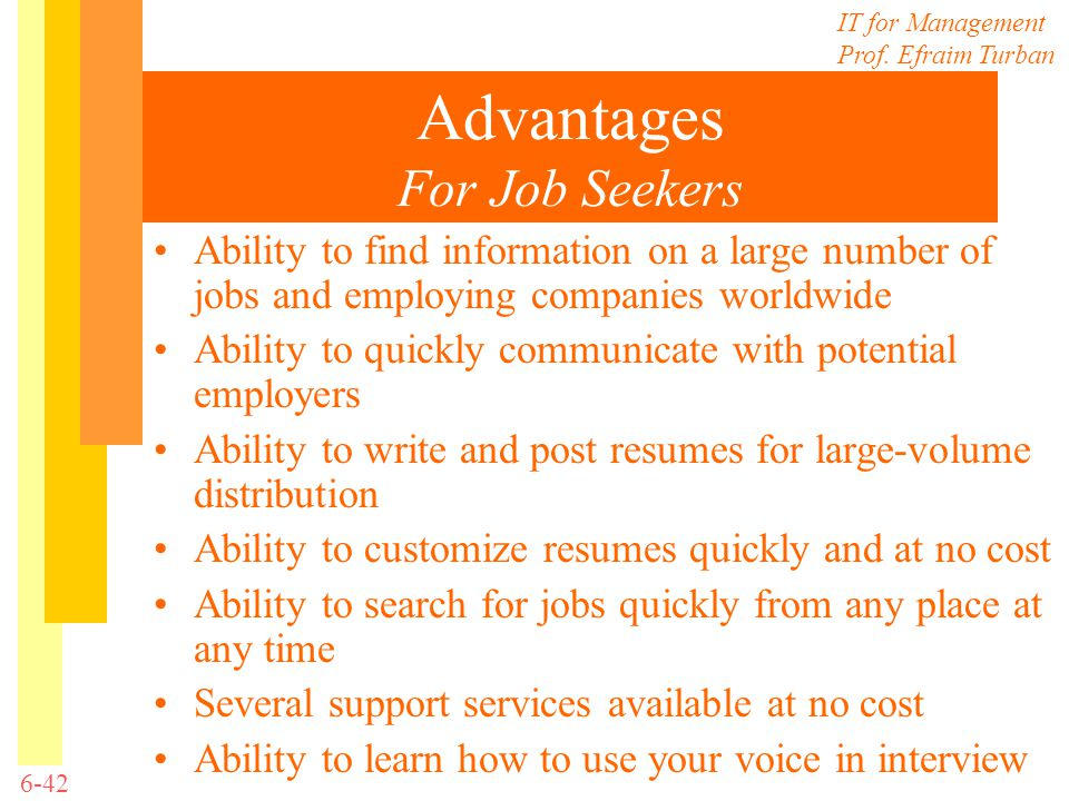 Advantages For Job Seekers