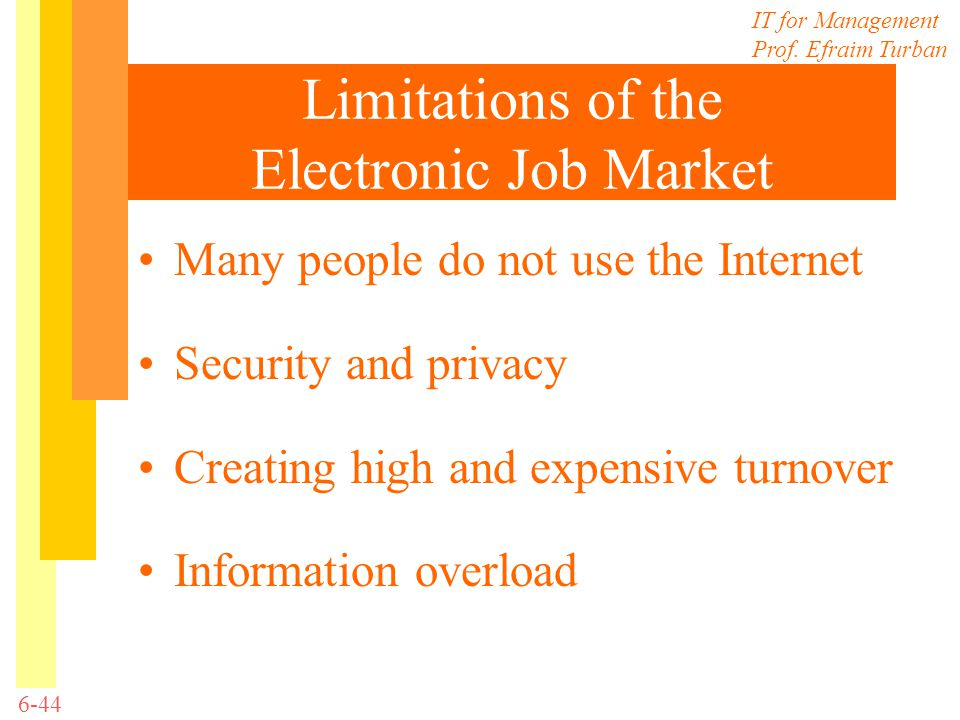 Limitations of the Electronic Job Market