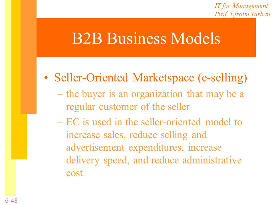B2B Business Models Seller-Oriented Marketspace (e-selling)