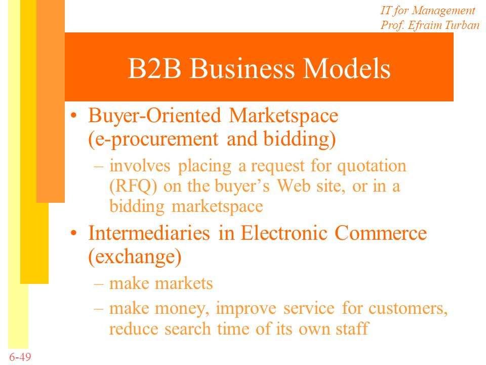 B2B Business Models Buyer-Oriented Marketspace (e-procurement and bidding)