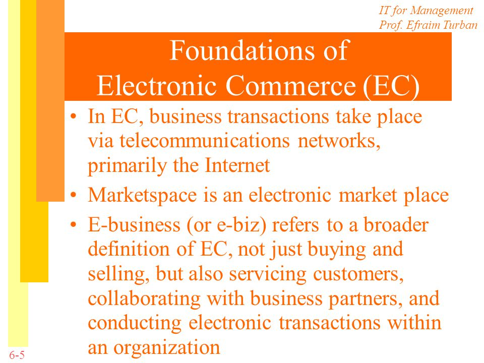 Foundations of Electronic Commerce (EC)