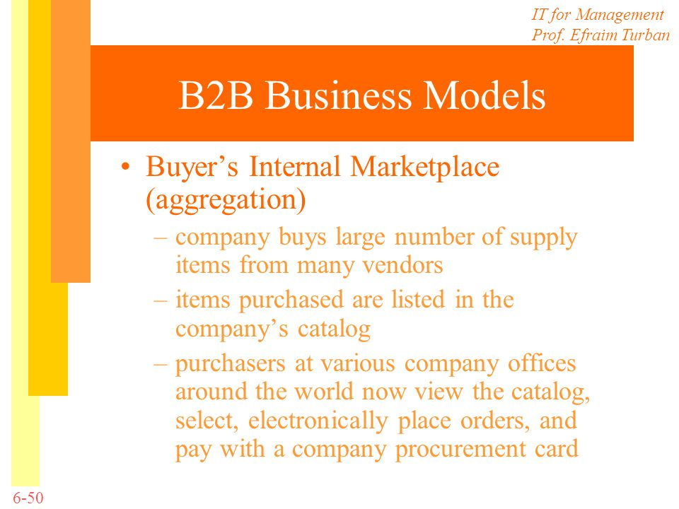 B2B Business Models Buyer's Internal Marketplace (aggregation)