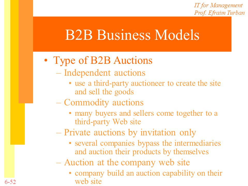 B2B Business Models Type of B2B Auctions Independent auctions