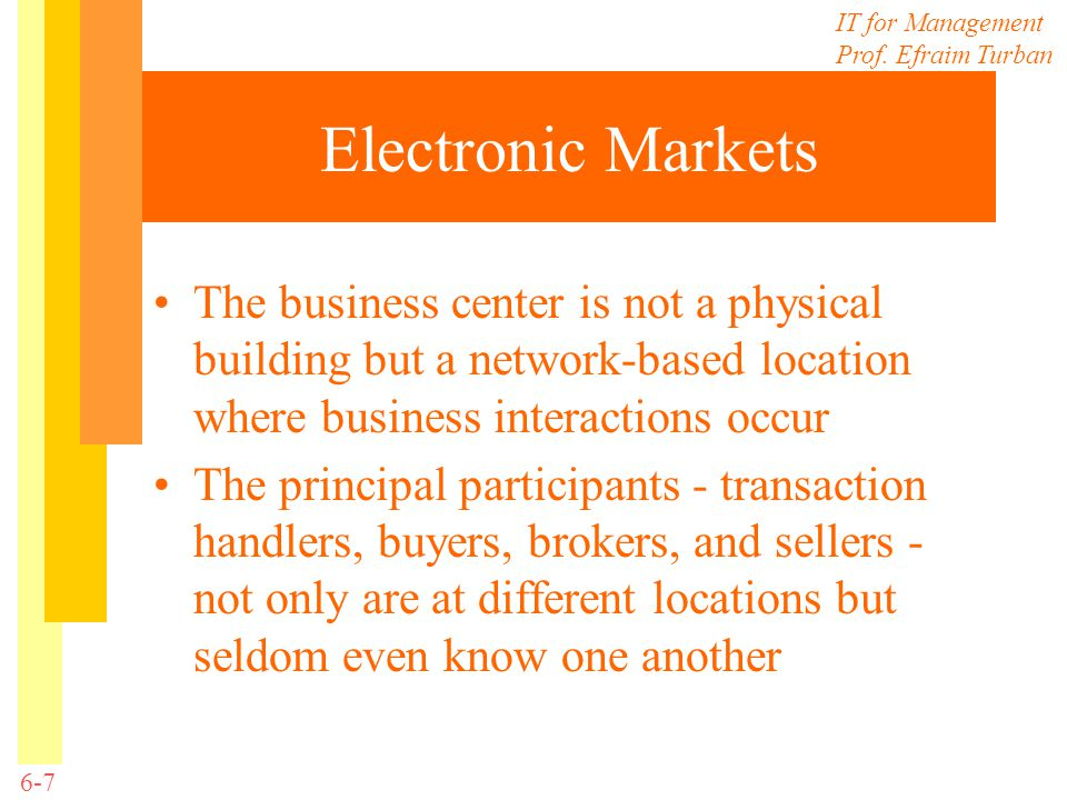Electronic Markets The business center is not a physical building but a network-based location where business interactions occur.