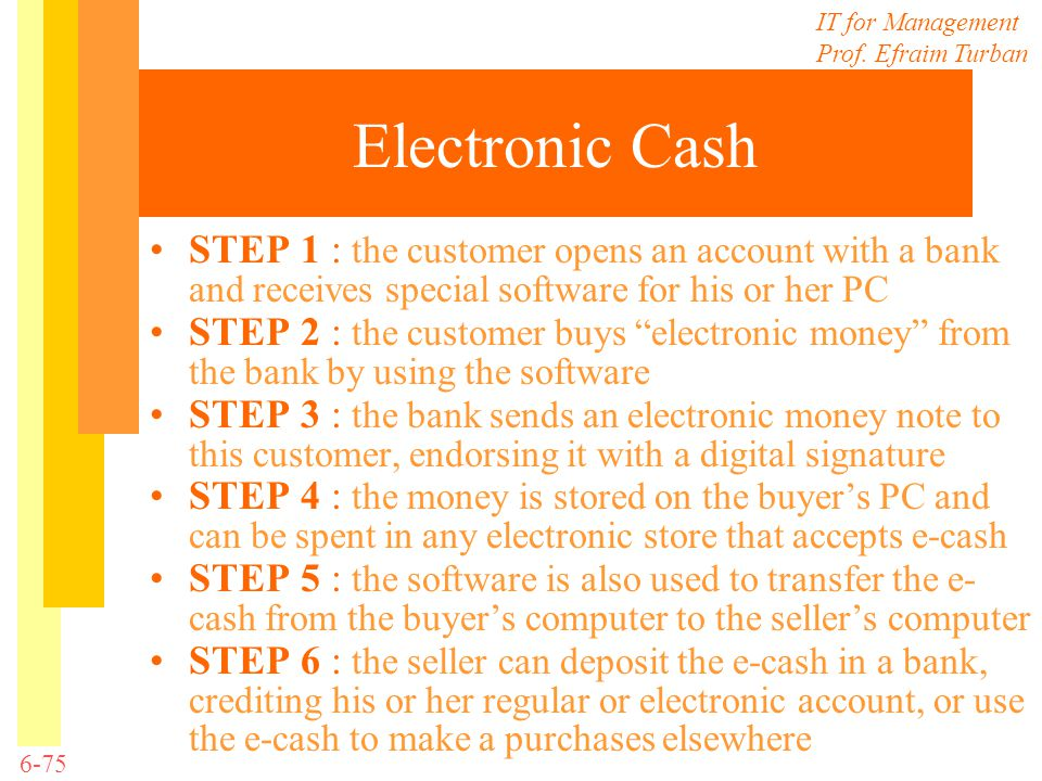 Electronic Cash STEP 1 : the customer opens an account with a bank and receives special software for his or her PC.