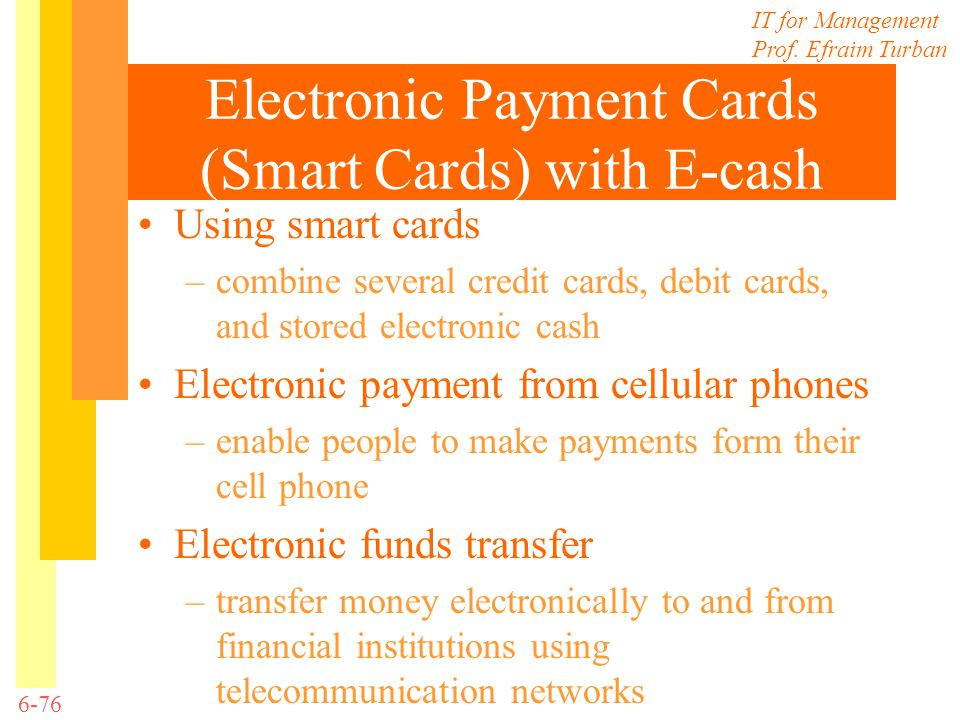 Electronic Payment Cards (Smart Cards) with E-cash
