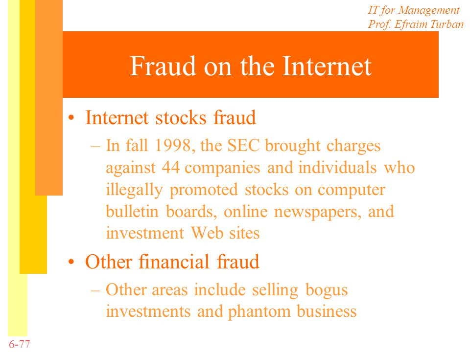Fraud on the Internet Internet stocks fraud Other financial fraud