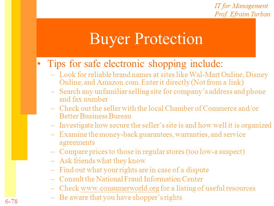 Buyer Protection Tips for safe electronic shopping include: