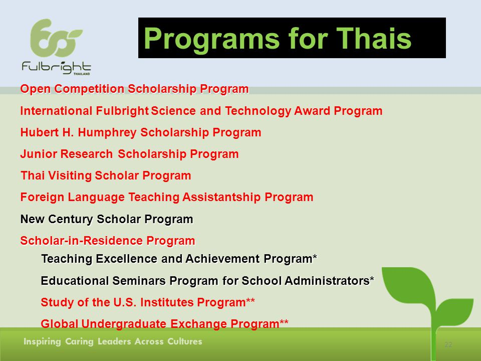 Programs for Thais Open Competition Scholarship Program