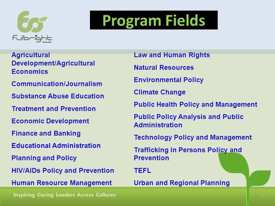 Program Fields Agricultural Development/Agricultural Economics