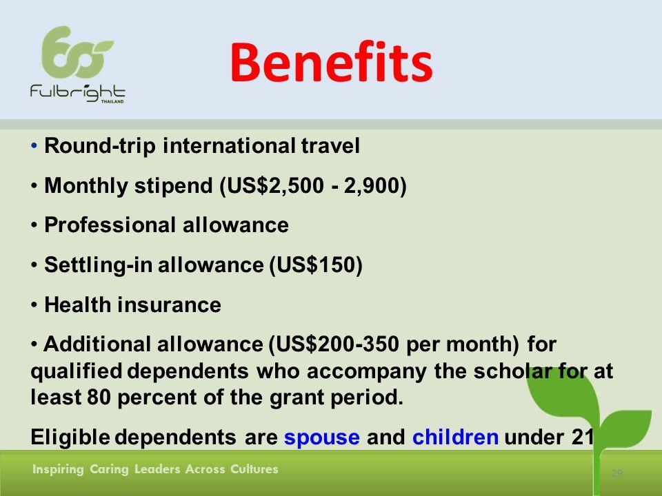 Benefits Round-trip international travel