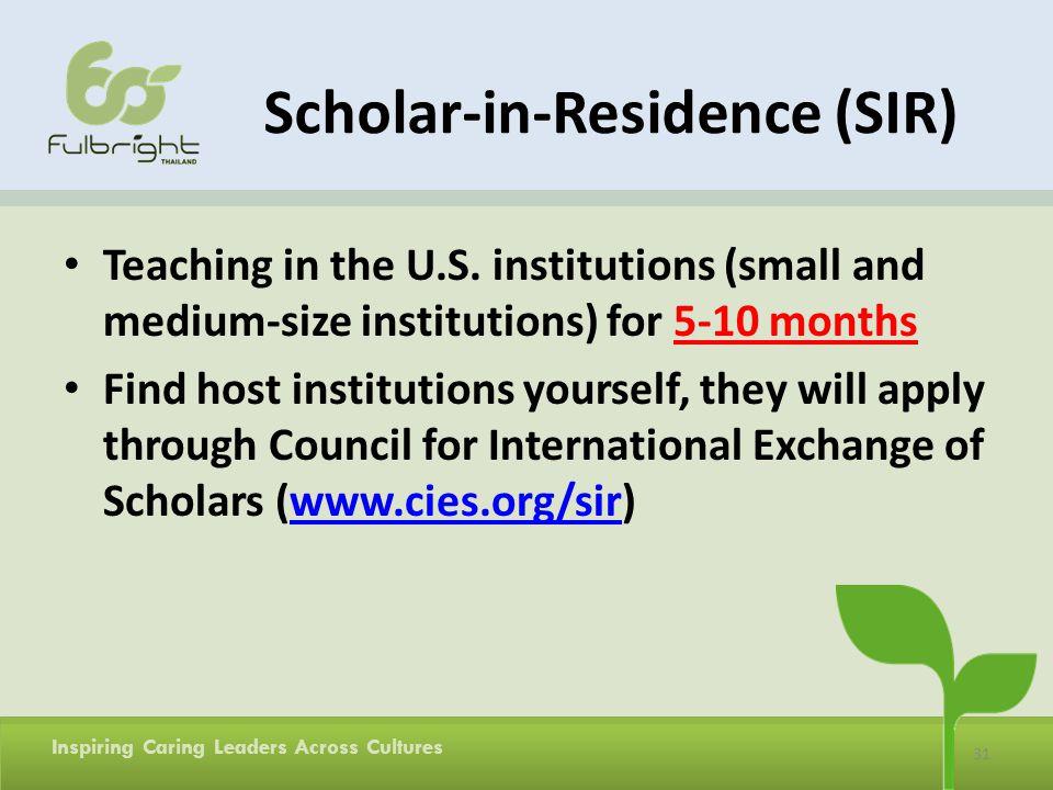 Scholar-in-Residence (SIR)