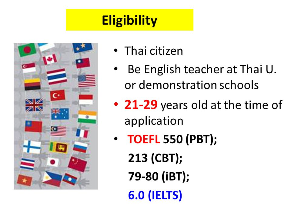 Eligibility 21-29 years old at the time of application Thai citizen