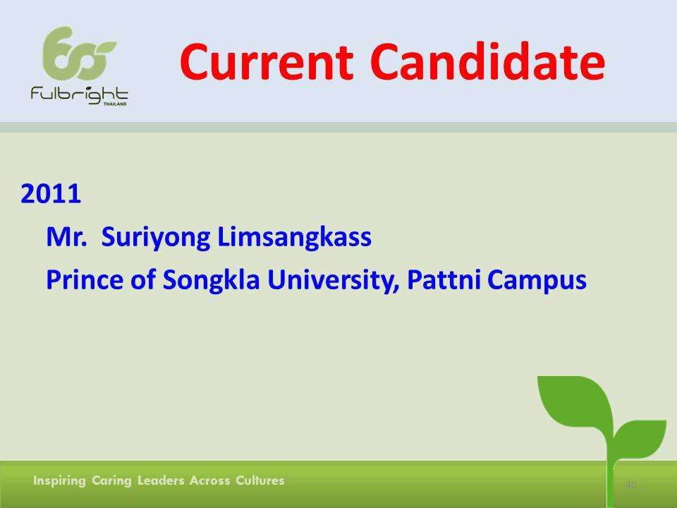 Current Candidate 2011 Mr. Suriyong Limsangkass Prince of Songkla University, Pattni Campus